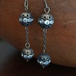 """Jewelry - 2.5"""" dangle earrings. Rhinestones/brass"""